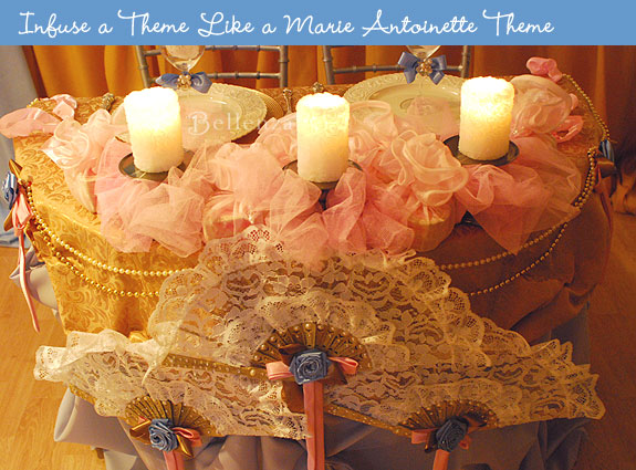 Add lace fans, candles, and tulle fabrics.
