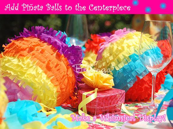 Cinco de Mayo crepe paper ball centerpieces