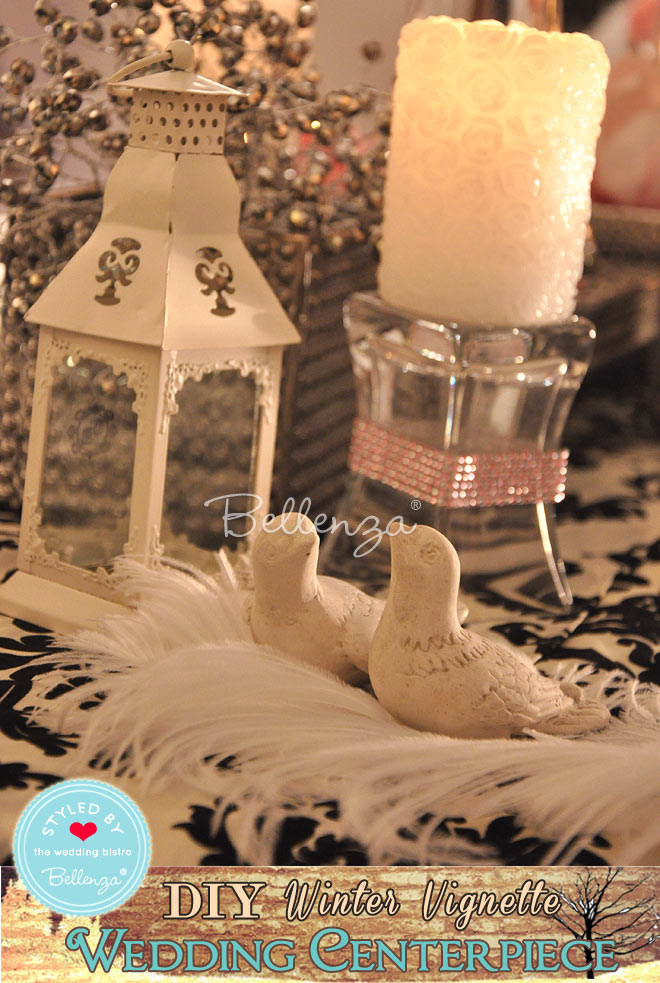 Love birds winter vignette centerpiece