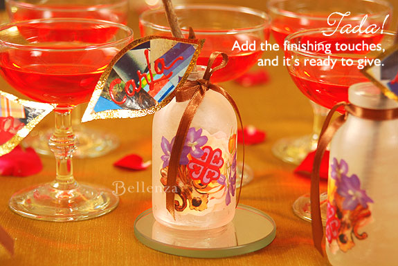 Art deco favor decoupage bottles as place card holders