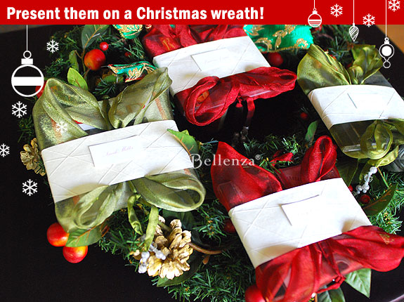 Holiday gift wrapping on a wreath