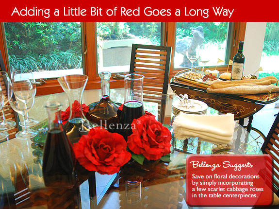Red roses on wine decanters