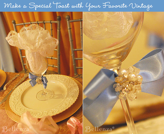 Make toasting flute glasses with pearlized ribbons.