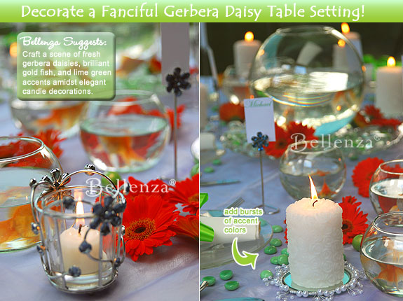Blue and orange are paired with white and green for a bright candle centerpiece.