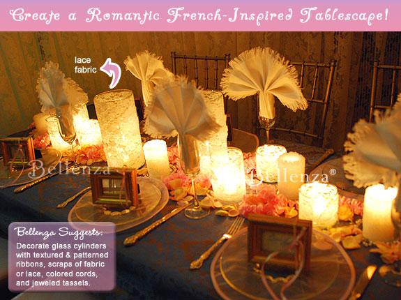 Shabby chic meets modern vintage in a rose inspired centerpiece with candles.