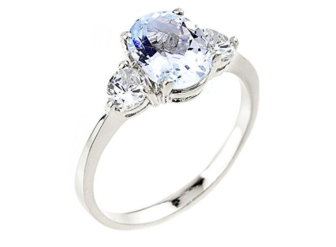 Dainty 10k White Gold Aquamarine 3-stone Engagement Ring