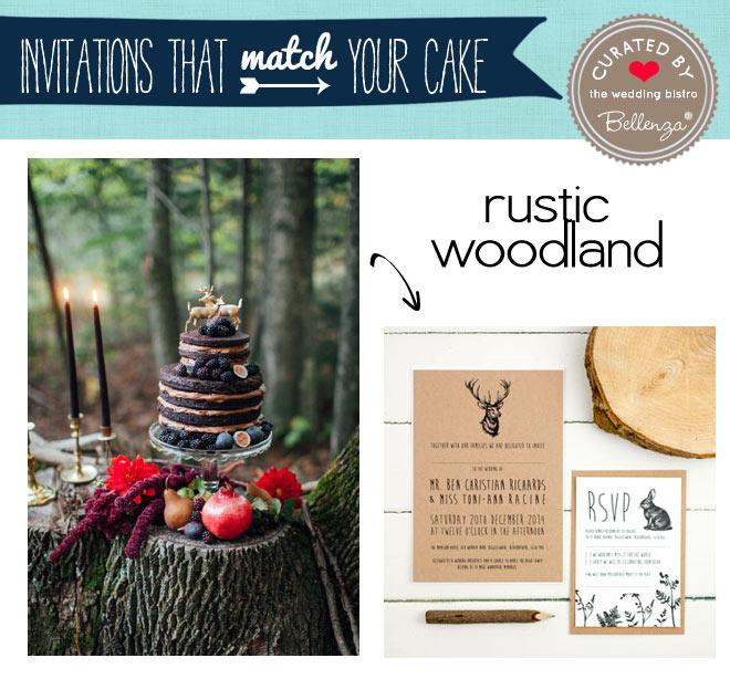 Rustic woodland wedding cake and invitation