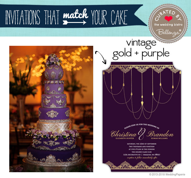 Vintage purple and gold cake and invitation