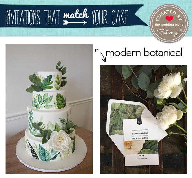 Botanical modern cake and invitation