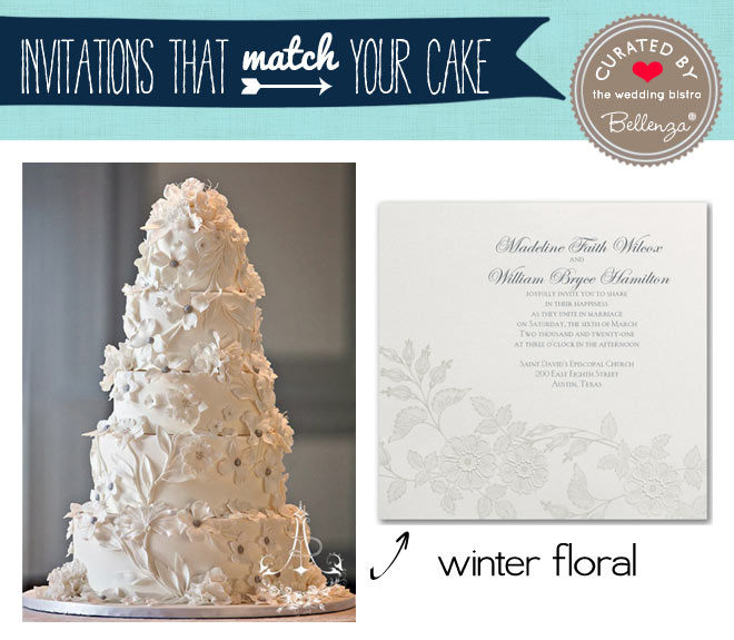 White winter florals wedding cake and invitation