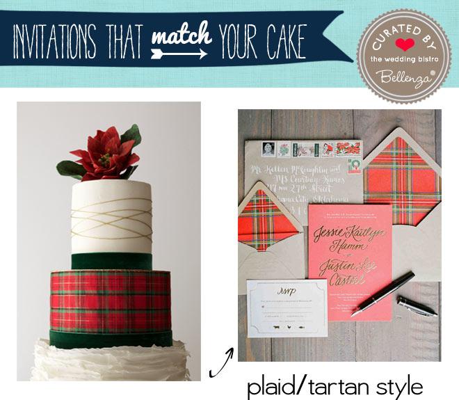 Plaid, tartan wedding cake and invitation for Christmas