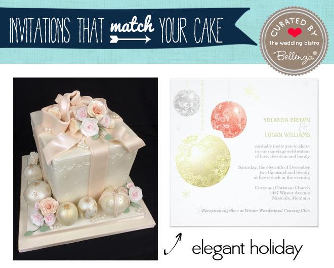 Christmas balls cake and invitation