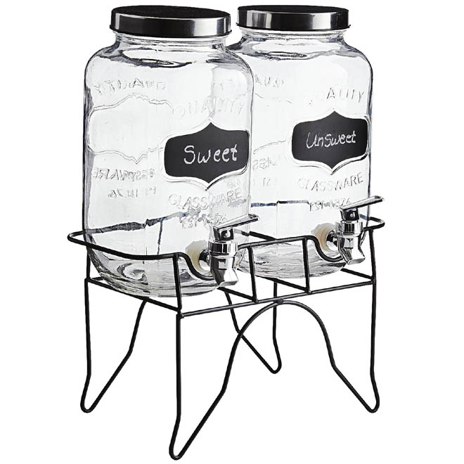 2 - Double Mason Jar Chalk Note Drink Dispenser