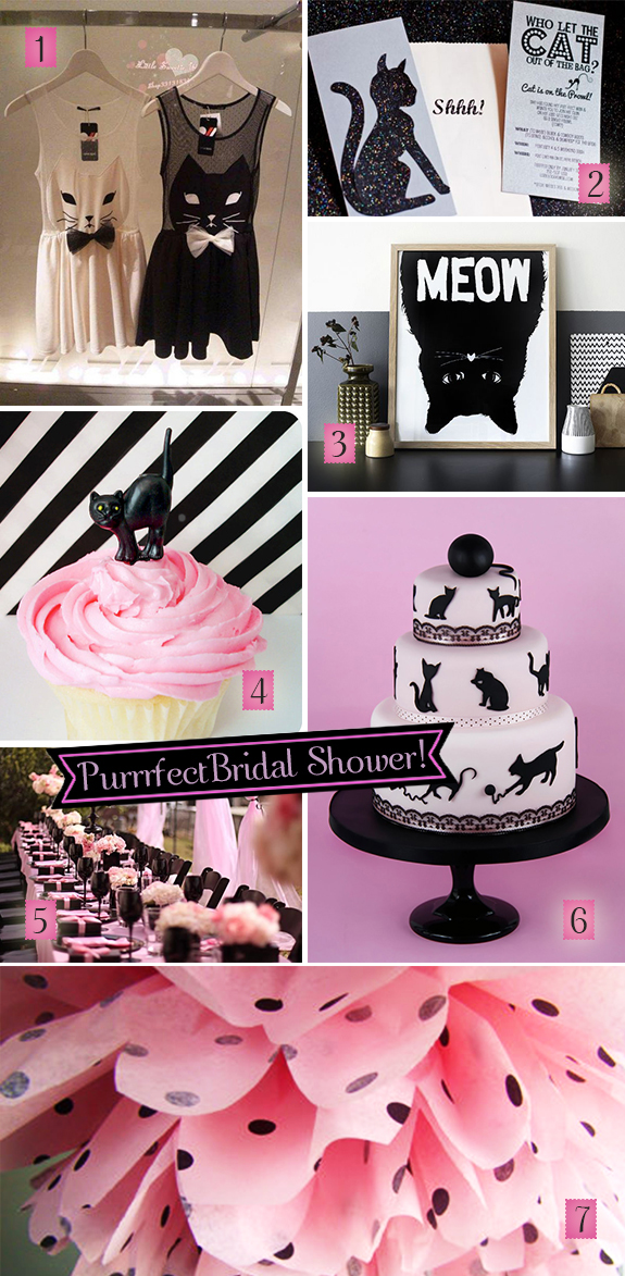 Pink and black decorations, invitations, and cake for a black cats bridal shower