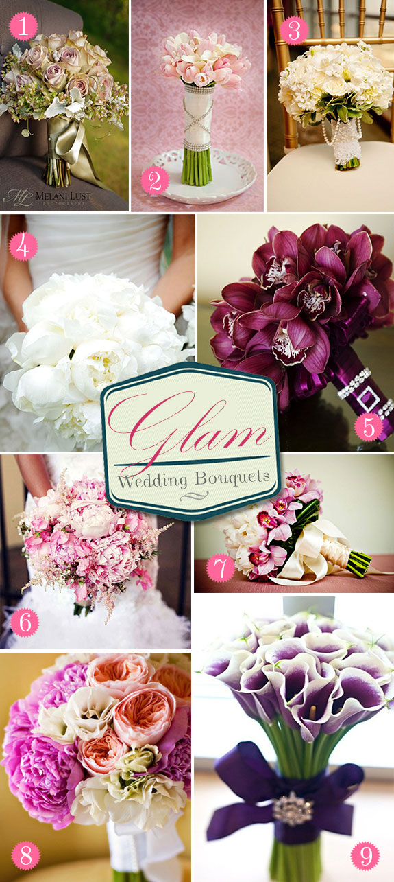 Beautiful wedding bouquets with jeweled accents and pearls