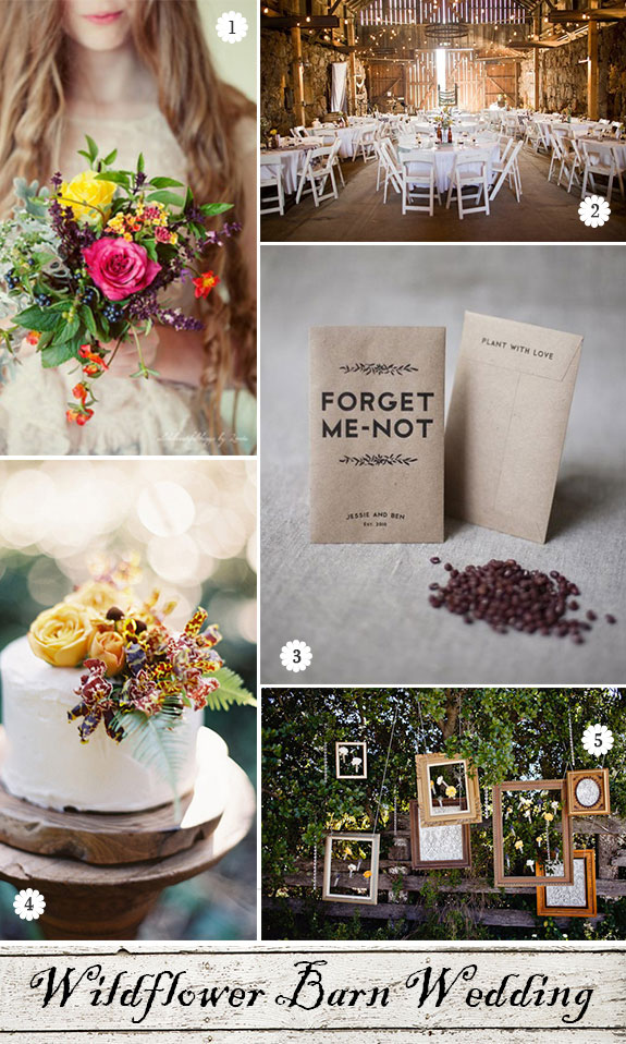 Rustic wedding inspiration for decorations, bouquet, cake, and favors