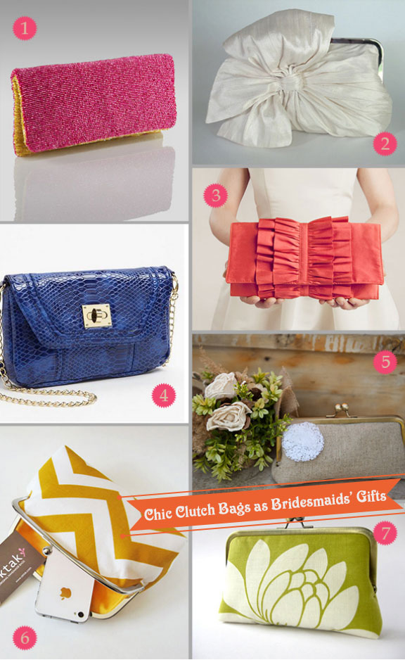 Bridesmaids clutch bags with pretty designs