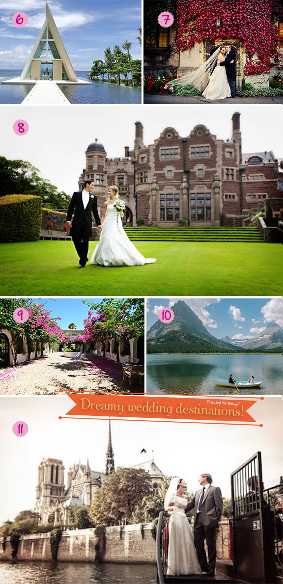 Destination wedding venues from castles to beaches