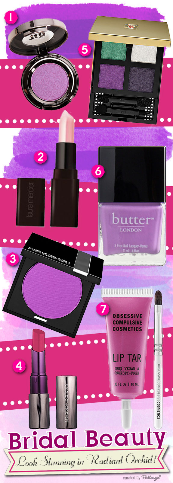 Beauty products for Radiant Orchid bridal makeup
