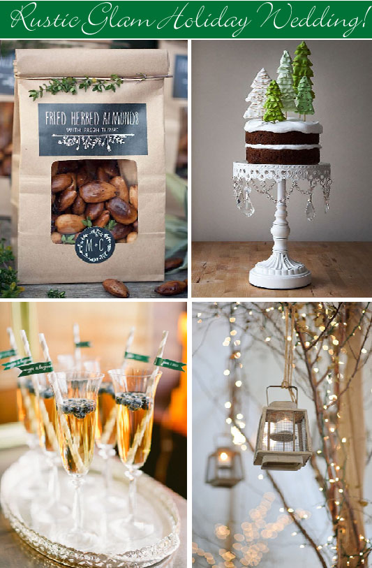 Rustic holiday wedding party