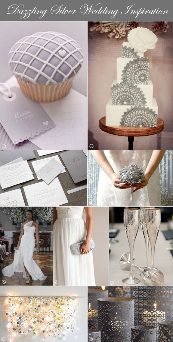 Silver and white wedding ideas with inspiration for favors, bouquet, dress, and more.