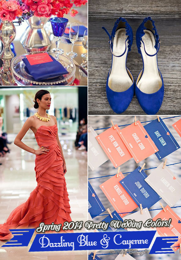 Elegant blue and coral wedding colors