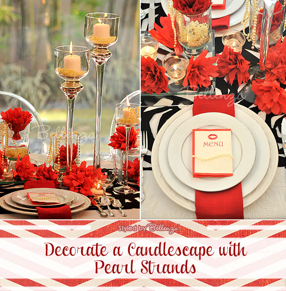 Pearl candlescape for a black and red tablescape with luxe details