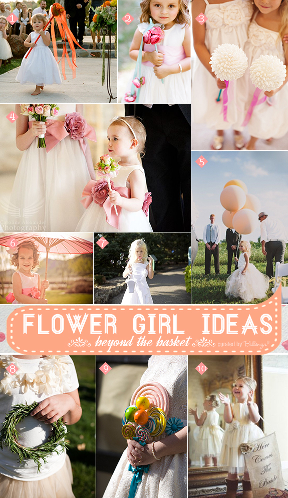 Alternative flower girl basket ideas that are fun using ribbons, wands, garlands, balloons, and wreaths