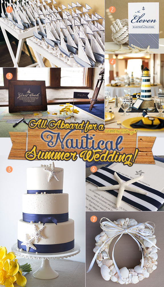 Chic ideas for a nautical wedding in navy blue, white, and yellow