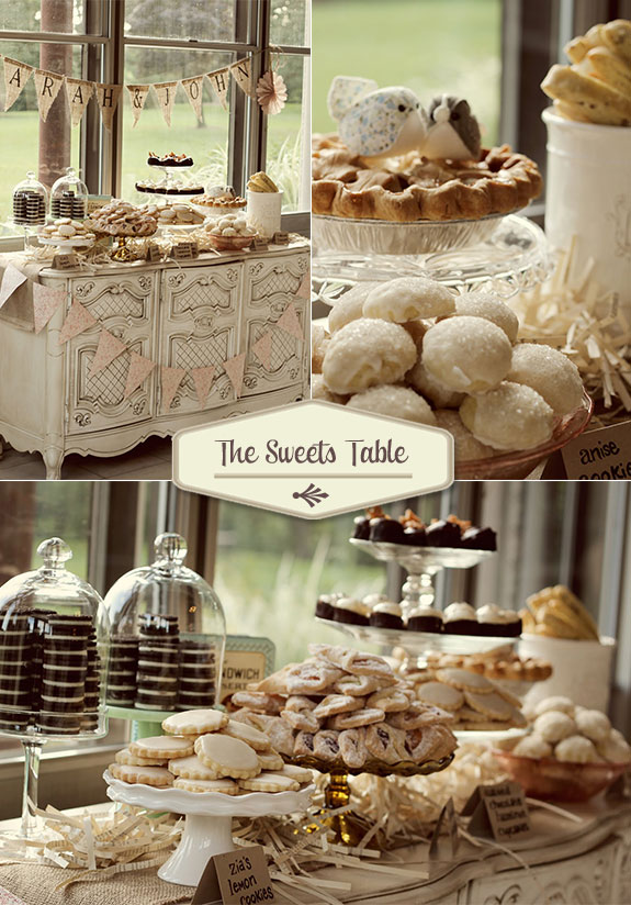 Vintage sweets table with lemon cookies, cupcakes, and pie