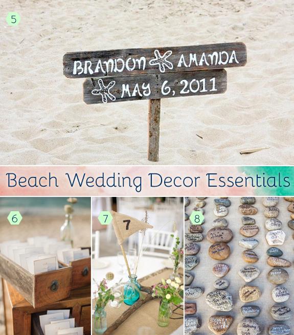 Beach reception decor using wood, stones, and burlap.