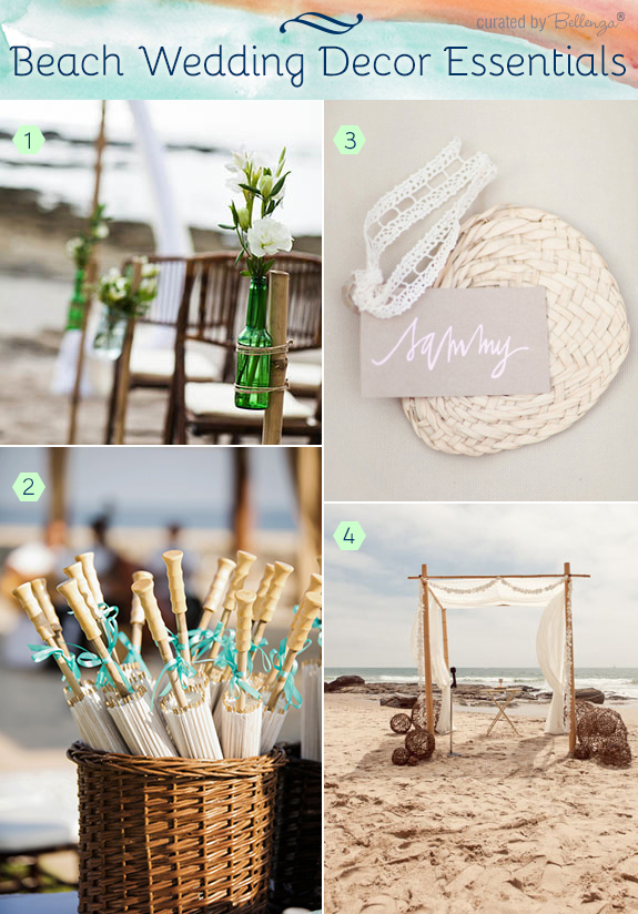 Beach inspired ceremony decorations like fans and parasols.