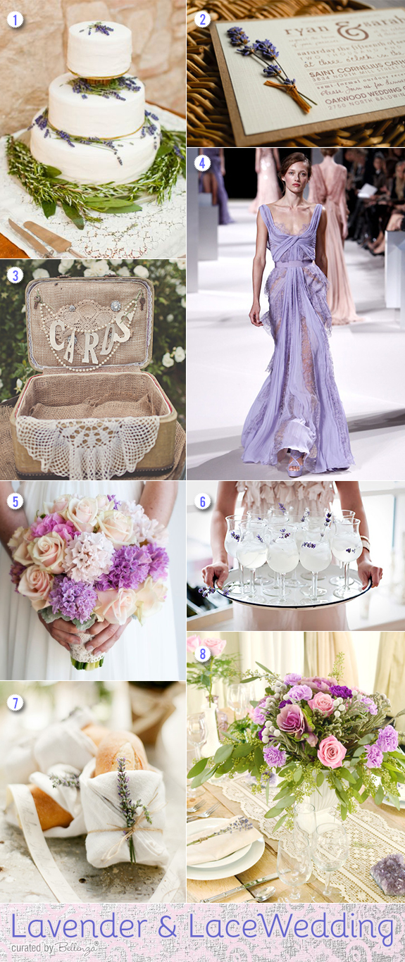 Lavender and lace wedding inspiration with wedding cake, bouquet, invitations, table decorations, and favors