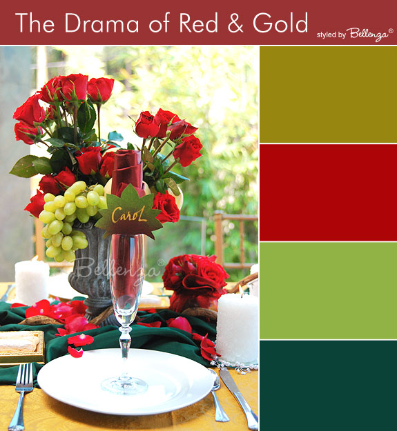 Red, dark chartreuse, hunter green, and gold palette