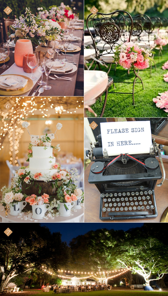 Elegant details for a garden wedding reception from decor to guestbooks to venue and cake.