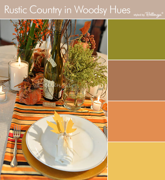 Rustic woodsy color palette in burnt orange, brown, mustard, and gold