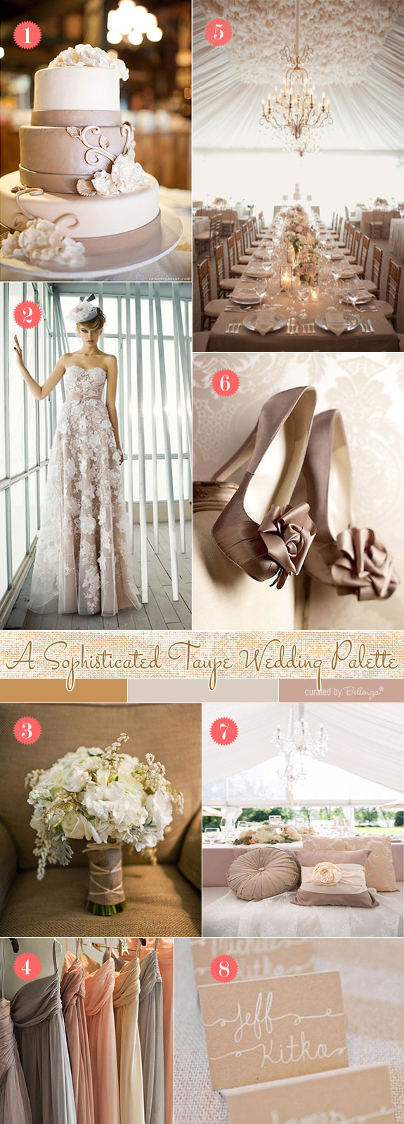 Taupe wedding in vintage glam style
