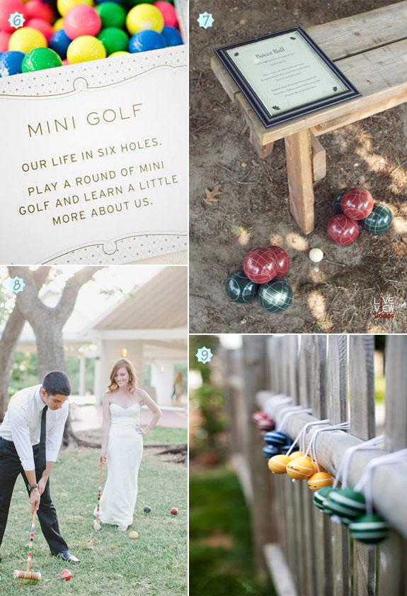 Wedding lawn games such as bocce ball, mini golf, croquet, and ladder golf