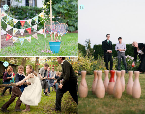 Active wedding lawn games such as badminton, tug of war, and skittles
