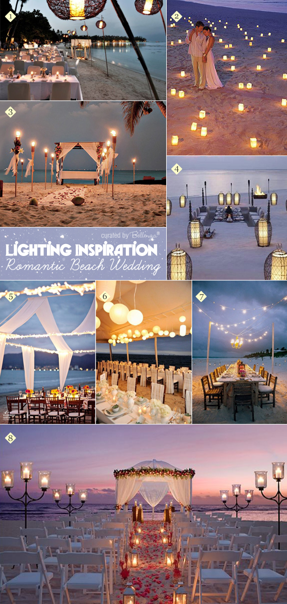 Creative ideas for how to apply lighting and candles at a beach wedding as featured on the Wedding Bistro at Bellenza