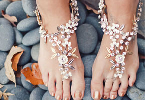 Jeweled barefoot sandals. Photo by Green Wedding Shoes