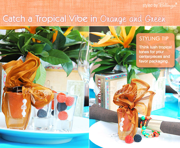 Sunny and citrusy orange adds a touch of warmth to an outdoor summer party with a casual vibe.