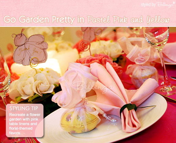 A floral palette of yellows and pinks definitely capture the look of a spring or summer garden-inspired table