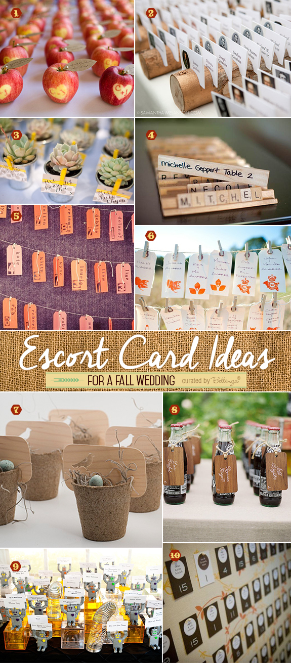 Creative escort card ideas using apples, mini logs, luggage tags, and toy pieces like Scrabble for fall weddings