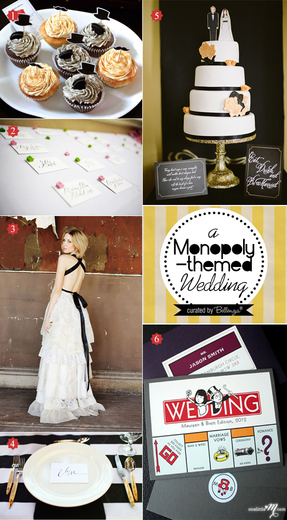 A black and white Monopoly themed wedding from decor inspiration to reception activities.