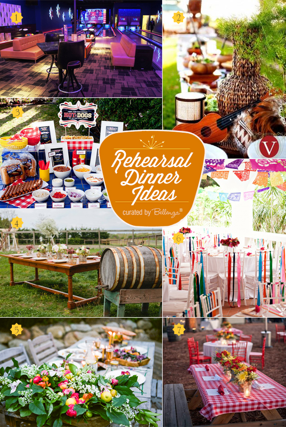 Fun and alternative rehearsal dinner themes for summer from a bowling alley bash to a summer bbq picnic to a fiesta party theme.