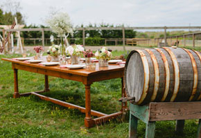 Rustic reception table for summer
