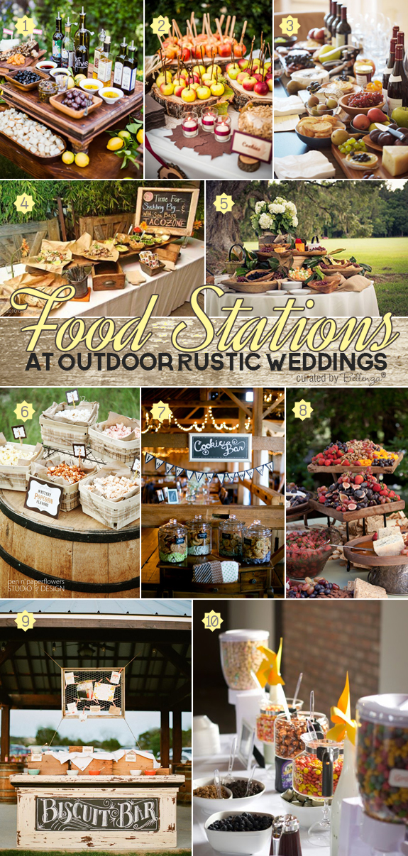Deliciously Stylish Food Stations For Outdoor Rustic Weddings