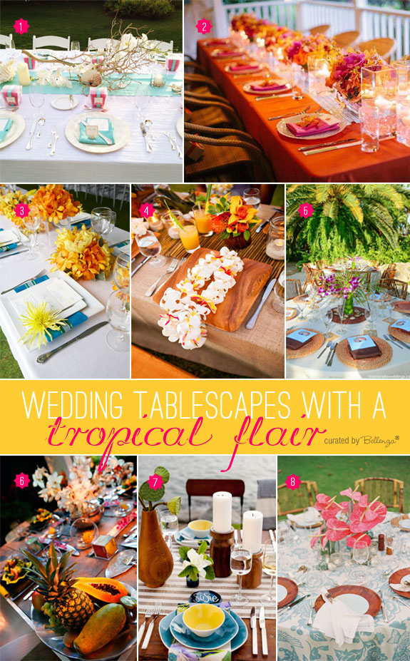 Stylish finds for tropical wedding tablescapes that incorporate vibrant colors, exotic materials, and natural elements.