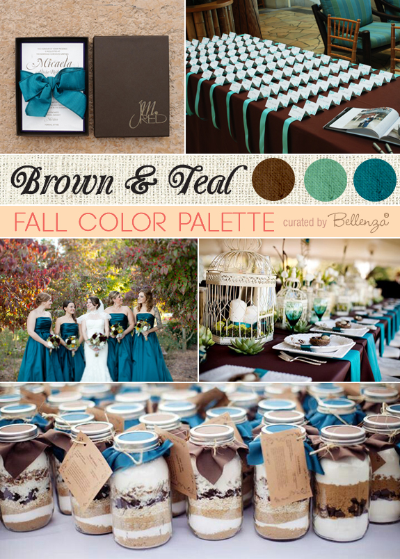 Teal and brown fall wedding with chocolate brown invitations in a box, a gorgeous tablesetting with birdcages, and teal bridesmaids' dresses.